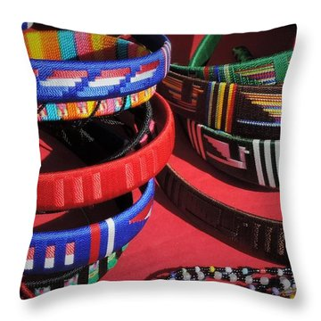 Mexican Jewelry Throw Pillow by Peggy Stokes
