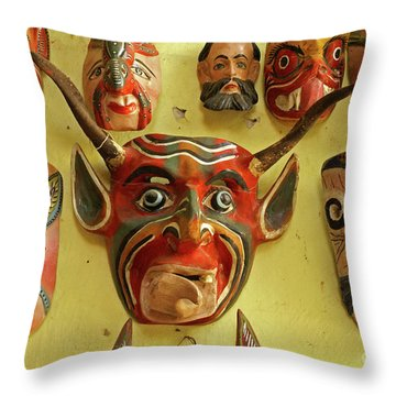 Throw Pillow featuring the photograph Mexican Masks by John  Mitchell