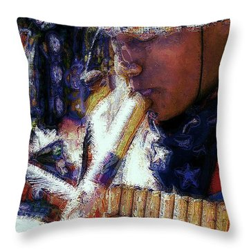 Throw Pillow featuring the photograph Mexican Street Musician by Lori Seaman