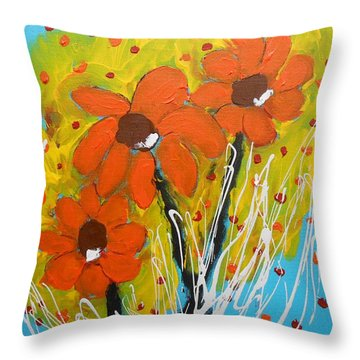 Mexican Sunflowers Flower Garden Throw Pillow