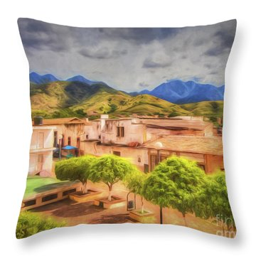Mexican Town Plaza  ... Throw Pillow