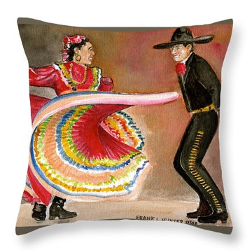 Mexico City Ballet Folklorico Throw Pillow by Frank Hunter