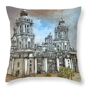 Mexico City Metropolitan Cathedral. Throw Pillow