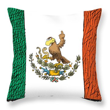 Mexico Flips Bird Throw Pillow