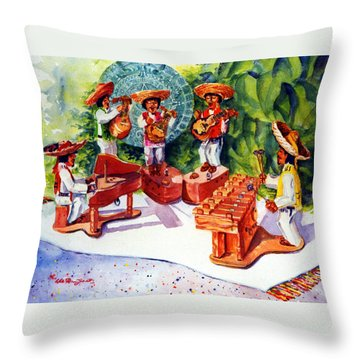 Mexico Mariachis Throw Pillow by Estela Robles