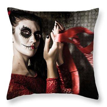 Mexico Sugar Skull Girl Performing Death Dance Throw Pillow