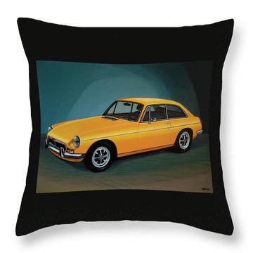 Mgb Gt 1966 Painting  Throw Pillow by Paul Meijering