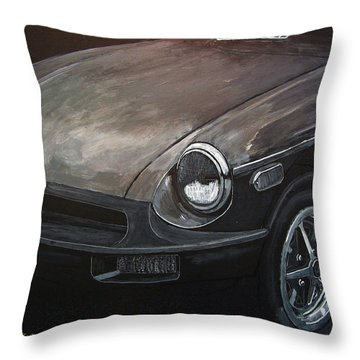 Throw Pillow featuring the painting Mgb Rubber Bumper Front by Richard Le Page