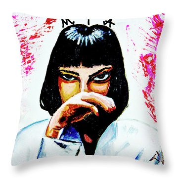 Throw Pillow featuring the painting MIA by eVol i