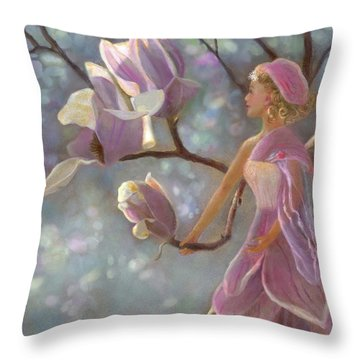 Throw Pillow featuring the painting Mia Magnolia Fairy by Nancy Lee Moran