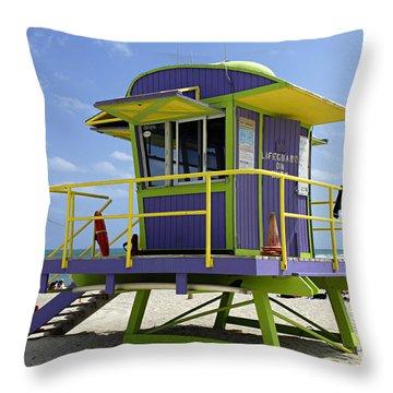 Miami Beach Throw Pillow by Bob Christopher