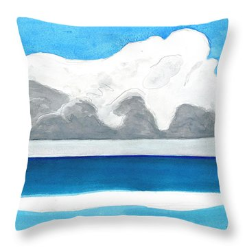Throw Pillow featuring the painting Miami Beach, Florida by Dick Sauer