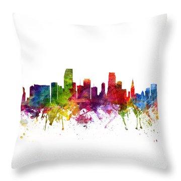 Miami Cityscape 06 Throw Pillow by Aged Pixel