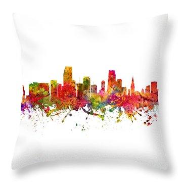 Miami Cityscape 08 Throw Pillow by Aged Pixel