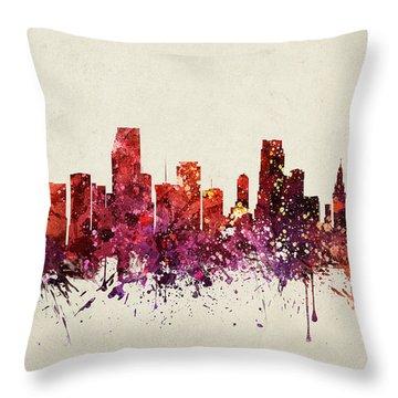 Miami Cityscape 09 Throw Pillow by Aged Pixel