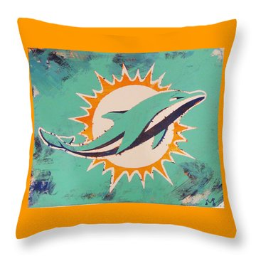 Throw Pillow featuring the painting Miami Dolphins by Candace Shrope