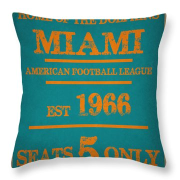 Miami Dolphins Sign Throw Pillow by Joe Hamilton