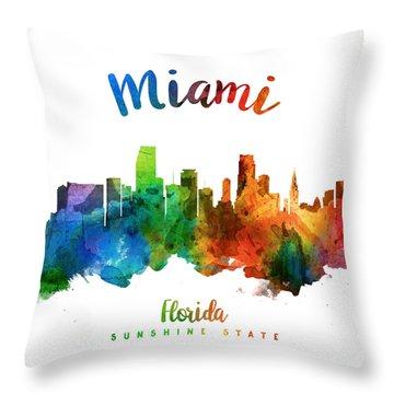 Miami Florida 25 Throw Pillow by Aged Pixel