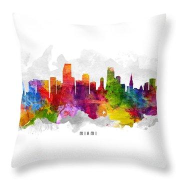Miami Florida Cityscape 13 Throw Pillow by Aged Pixel