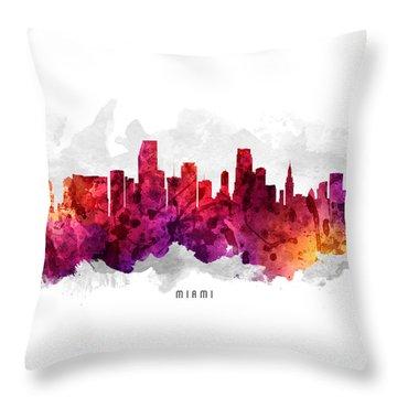 Miami Florida Cityscape 14 Throw Pillow by Aged Pixel
