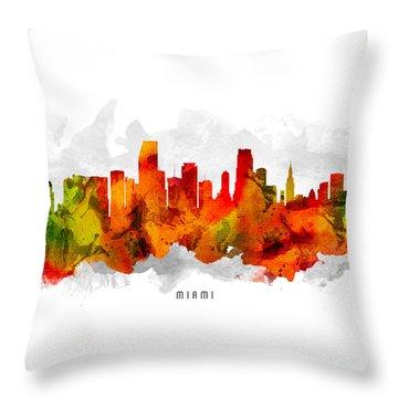 Miami Florida Cityscape 15 Throw Pillow by Aged Pixel