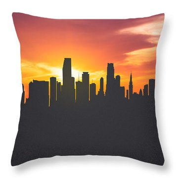 Miami Florida Sunset Skyline 01 Throw Pillow by Aged Pixel