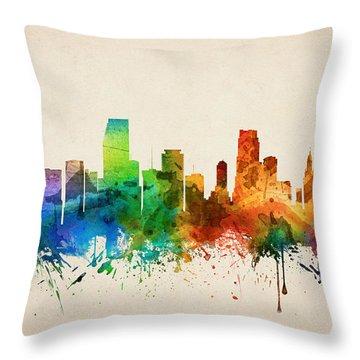 Miami Florida Skyline 05 Throw Pillow by Aged Pixel