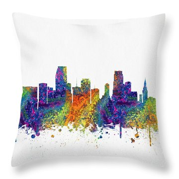 Miami Florida Skyline Color03 Throw Pillow by Aged Pixel