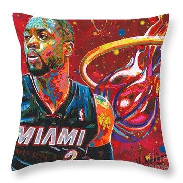 Miami Heat Legend Throw Pillow by Maria Arango