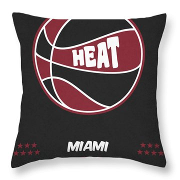 Miami Heat Vintage Basketball Art Throw Pillow