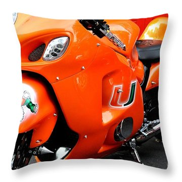 Miami Hurricane Cycle Throw Pillow