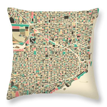 Miami Map Throw Pillow