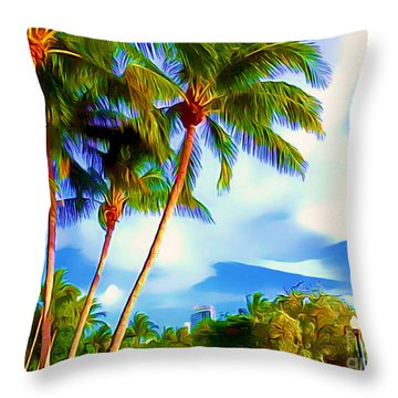 Miami Maurice Gibb Memorial Park Throw Pillow by Patrice Torrillo