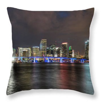 Miami Skyline At Night Throw Pillow