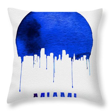 Miami Skyline Blue Throw Pillow by Naxart Studio