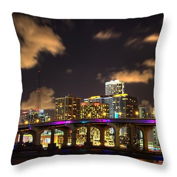 Miami Skyline Throw Pillow