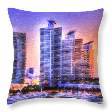 Miami Skyline Sunrise Throw Pillow