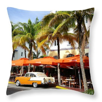 Miami South Beach Ocean Drive 8 Throw Pillow
