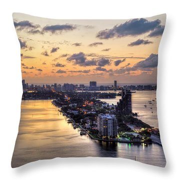 Miami Sunrise Throw Pillow