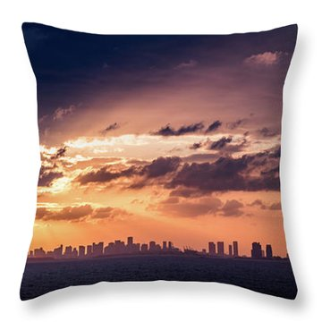 Miami Sunset Pano Throw Pillow