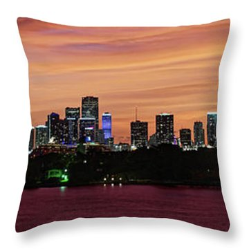 Throw Pillow featuring the photograph Miami Sunset Panorama by Gary Dean Mercer Clark