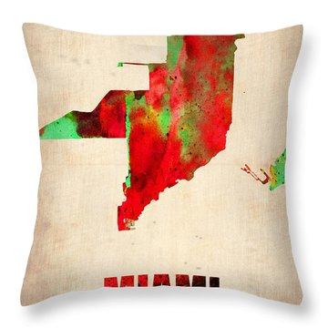 Miami Watercolor Map Throw Pillow by Naxart Studio