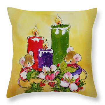 Mice With Candles Throw Pillow by Diane Matthes