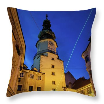 Michael Gate And Tower At Night In Bratislava Throw Pillow