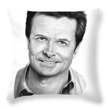 Michael J. Fox Throw Pillow by Murphy Elliott
