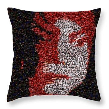 Michael Jackson Bottle Cap Mosaic Throw Pillow by Paul Van Scott