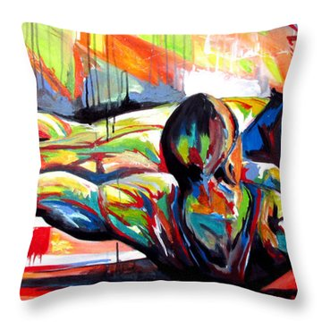 Throw Pillow featuring the painting Michael Johnson Stretch by John Jr Gholson