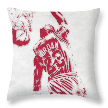 Michael Jordan Chicago Bulls Pixel Art 1 Throw Pillow by Joe Hamilton