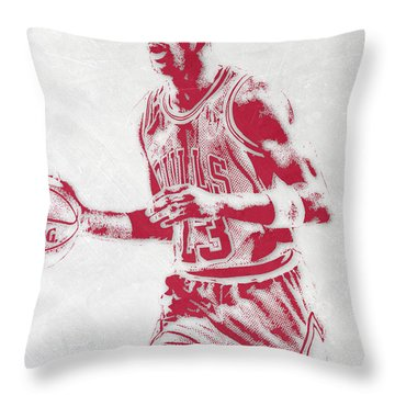 Michael Jordan Chicago Bulls Pixel Art 2 Throw Pillow by Joe Hamilton