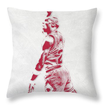 Michael Jordan Chicago Bulls Pixel Art 3 Throw Pillow by Joe Hamilton